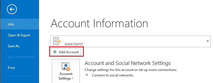 Outlook 2013 - add account