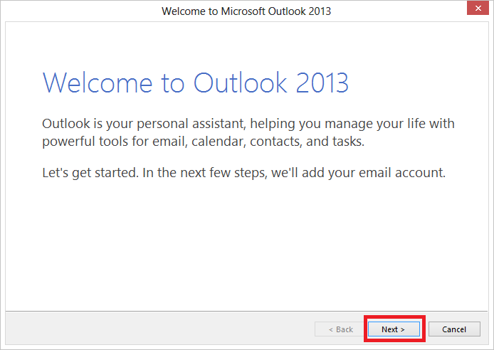 Giao diện Welcome Outlook 2013