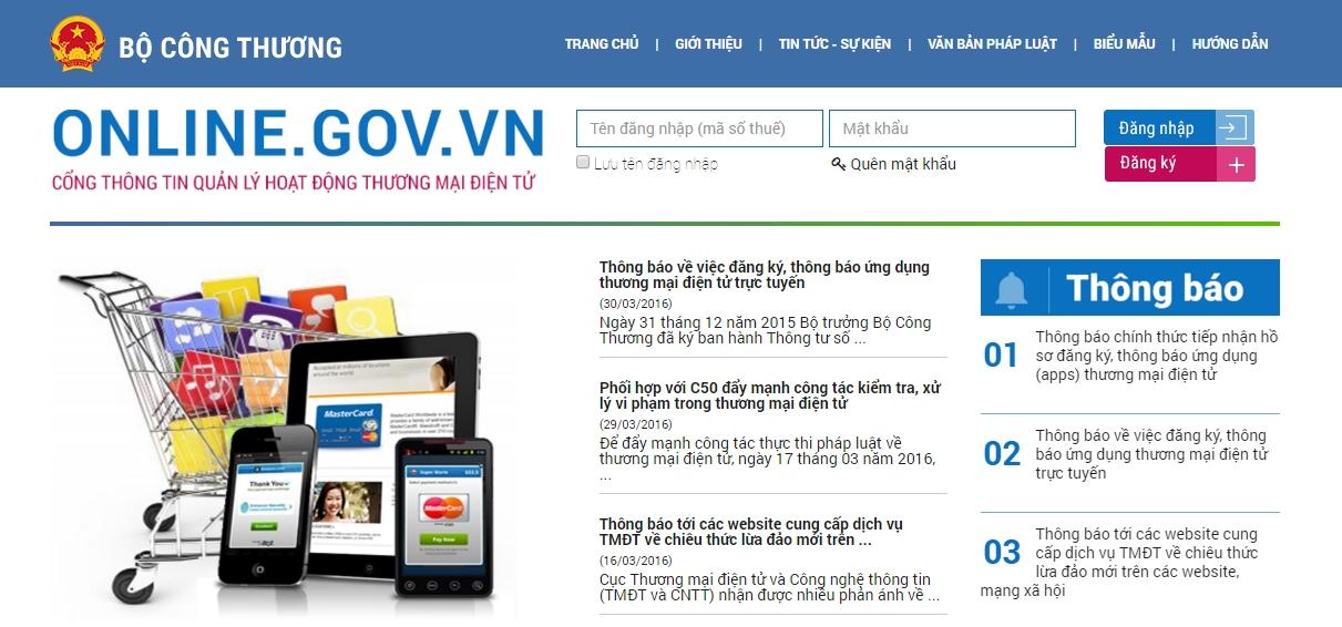 Kết quả hình ảnh cho thông báo website thương mại điện tử với bộ công thương