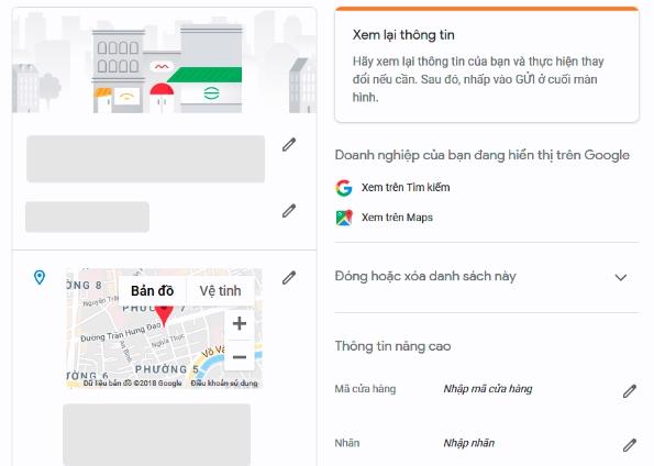 Chỉnh sửa thông tin trên google map local business